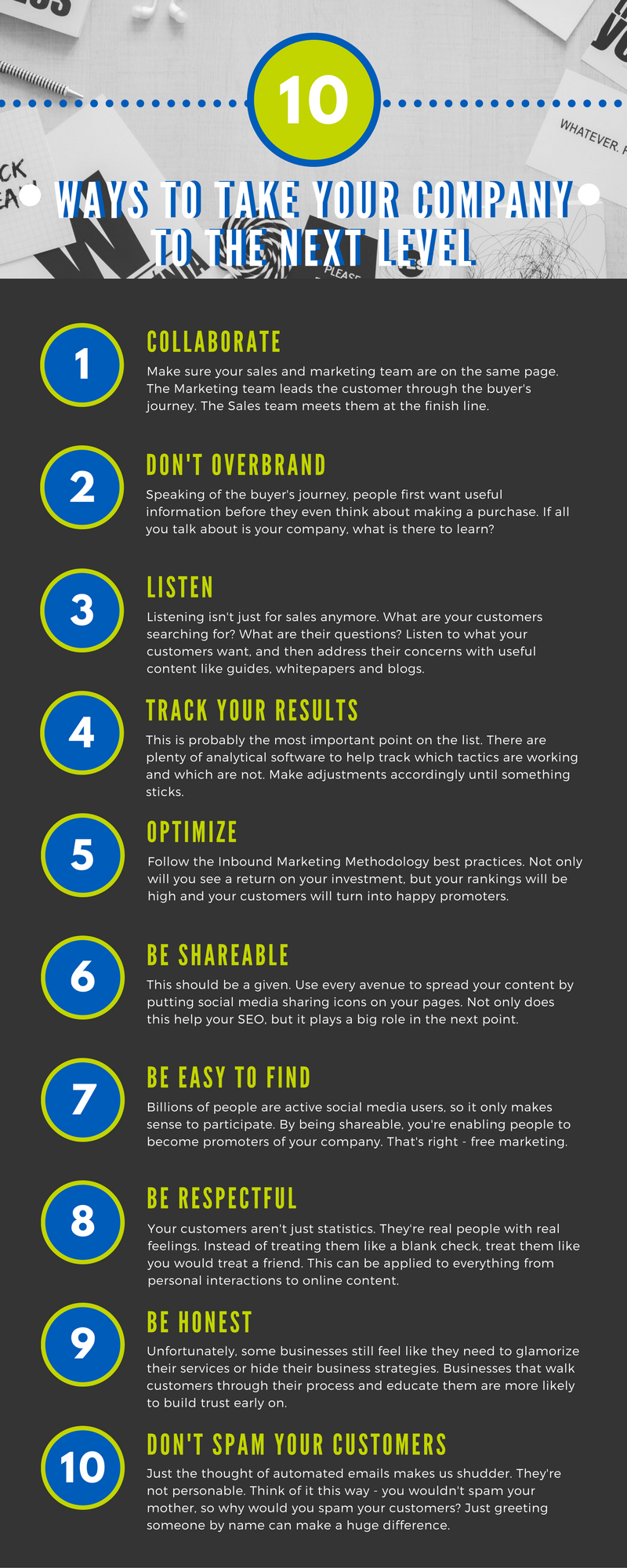 10 ways to take your company to the next level infographic