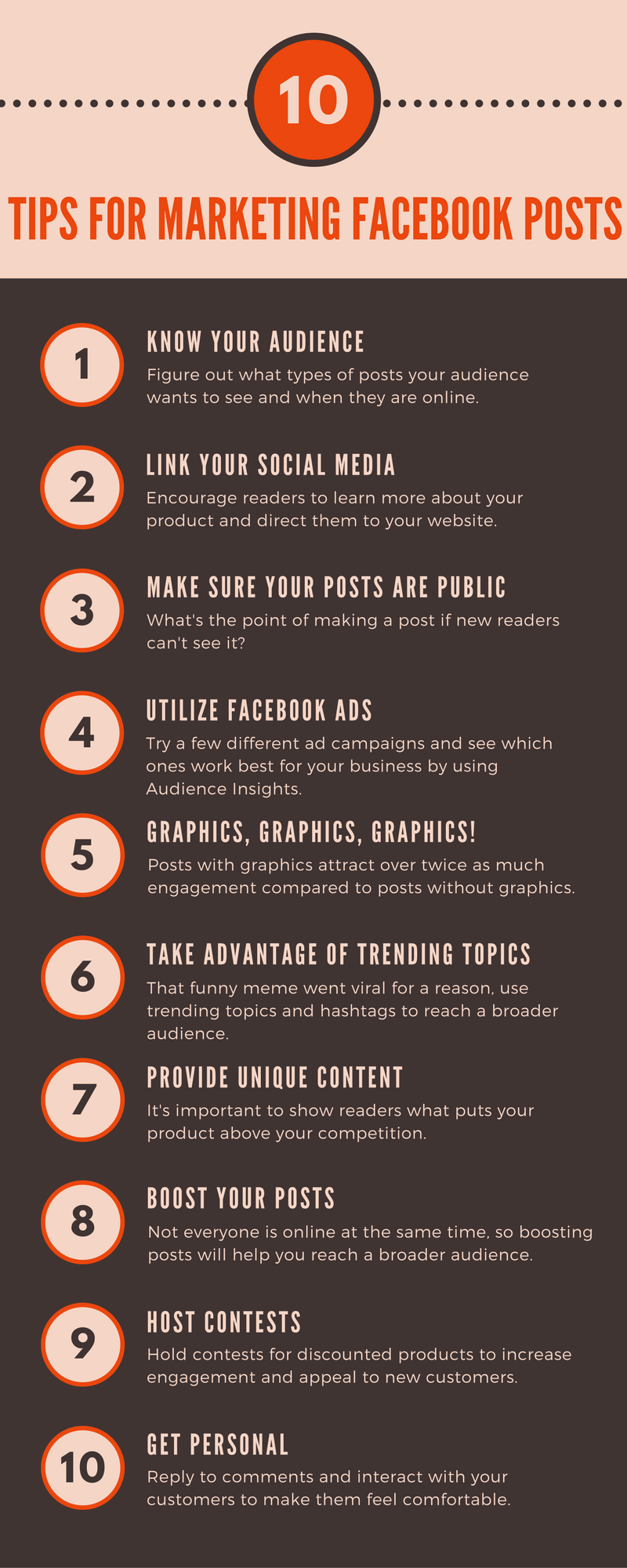 10 Tips For Facebook Posts infographic