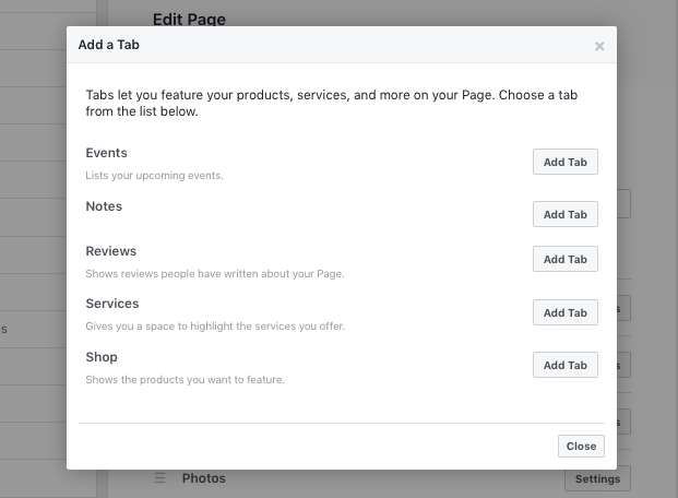 Add a tab - Facebook business page