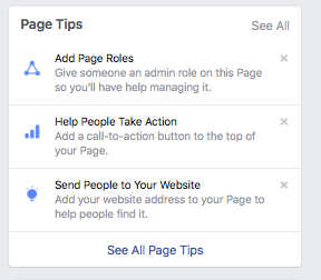 page tips on a facebook business page