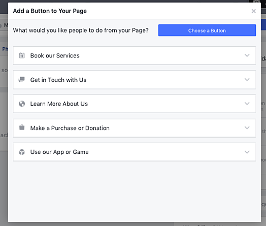 add a button to your Facebook business page