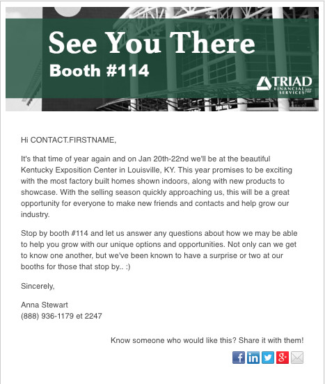 Trade Show Marketing Email Example