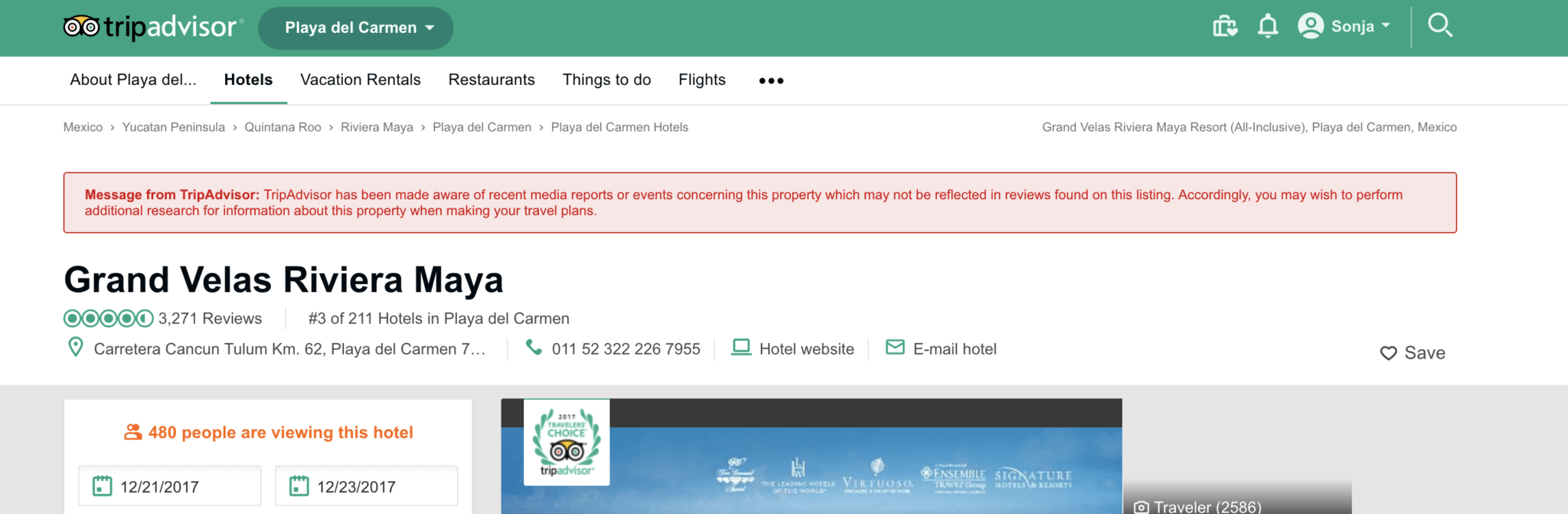TripAdvisor Adds Warning Signs