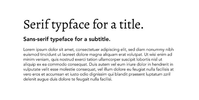 Title, Subtitle, and Body Typefaces Example
