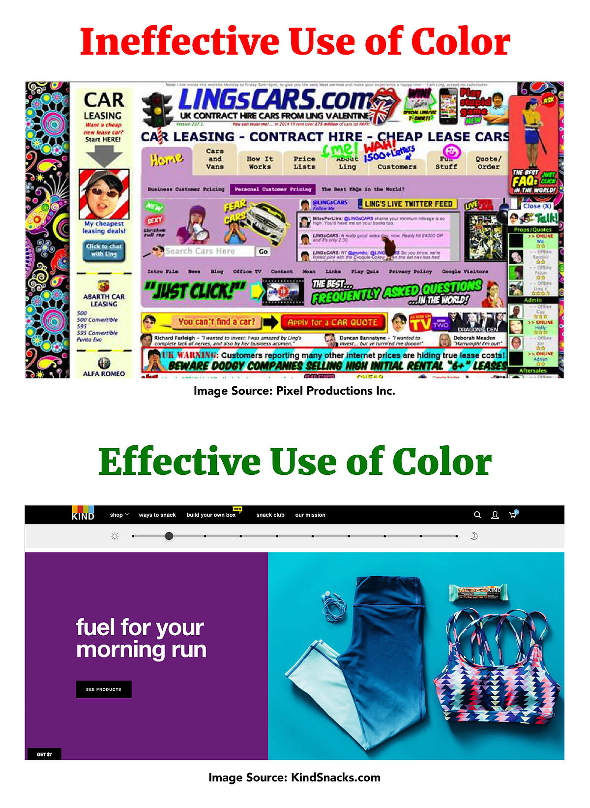 Ineffective vs. Effective Use of Color