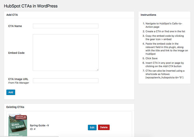 HubSpot CTAs in WordPress UI