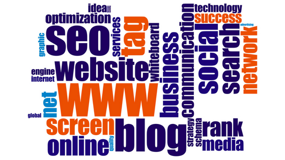 wordcloud of seo related terms