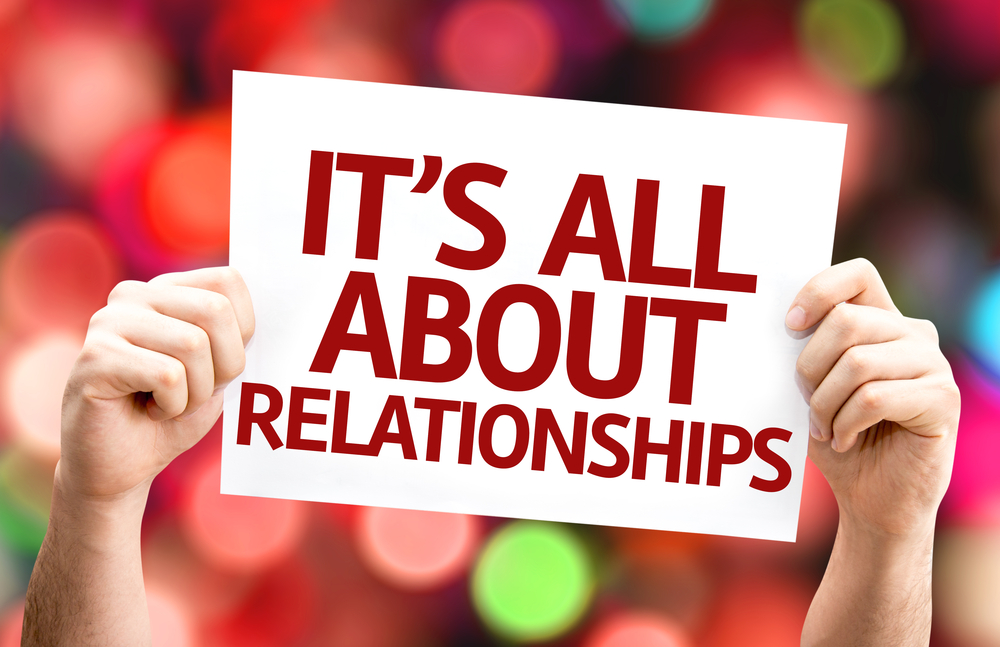 Its All About Relationships card with colorful background with defocused lights